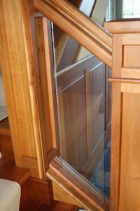 wood glass railing